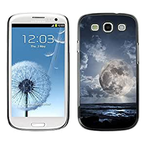 Qstar Arte & diseño plástico duro Fundas Cover Cubre Hard Case Cover para SAMSUNG Galaxy S3 III / i9300 / i747 ( Alien Planet World Moon Close View Sky Blue)