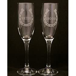 Lucky Horseshoe Bride and Groom Wedding Champagne Flutes, Wedding glasses, bride and groom glasses, Champagne toasting glasses