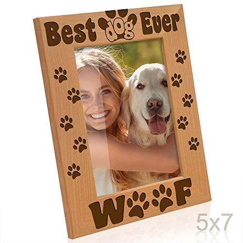 - Kate Posh - Best Dog Ever - Dog Paws and Bones Engraved Picture Frame (5x7-Vertical)
