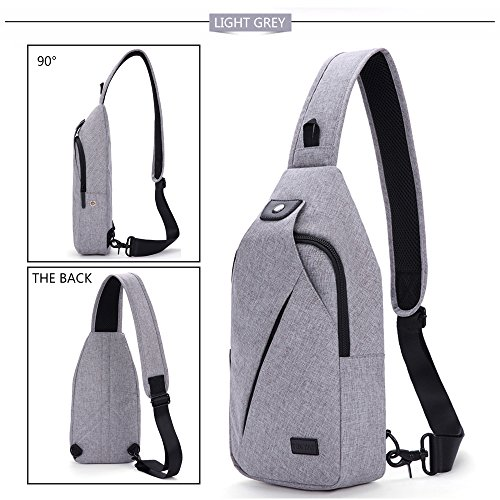 Hikpacker Lightweight Sling Shoulder Crossbody Bag Travel Hiking backpack Daypack For Men Or Women (Light Grey}