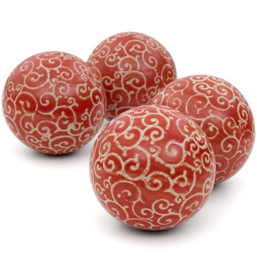 Oriental Furniture 4'' Red and Beige Vines Porcelain Ball Set by ORIENTAL Furniture