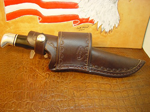 Custom Leather Cross Draw Knife Sheath for a Buck 119 Dyed Brown Sheath - Draw Sheath Side