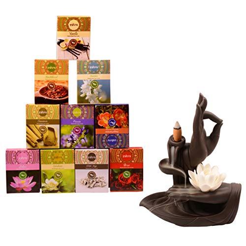 Zahra Premium Masala Back Flow Cones Masala Back Flow Natural Incense Cones Assorted 10 Fragrances with 8 Cones Each...