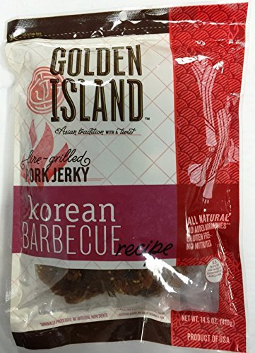 (Pack of 2) Pork Jerky Korean Barbecue Recipe Gourmet Snack Sweet Smoky Grilled Golden Island, 14.5oz