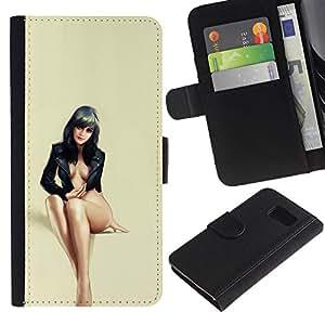 Paccase / Billetera de Cuero Caso del tirón Titular de la tarjeta Carcasa Funda para - sexy black haired beauty legs feet woman - Samsung Galaxy S6 SM-G920