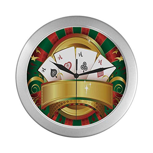 (C COABALLA Poker Tournament Simple Silver Color Wall Clock,Gambling Fortune Wealth Playing Cards Hand Casino Roulette Winning Print Decorative for Home Office,9.65