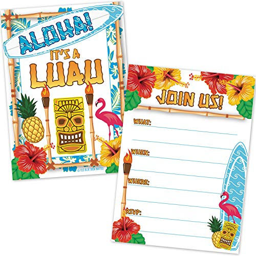 Invitations Tropical Theme (Luau Beach Party Invitations (20 Count with Envelopes) - Tropical Hawaiian Tiki Theme Birthday Party Invites - Kids or Adults Summer Cookout Party)