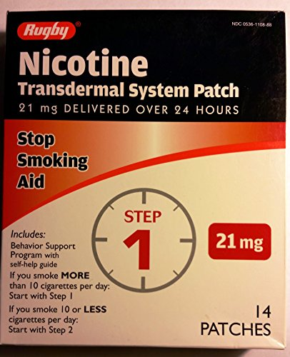 Rugby Nicotine Transdermal System Opaque Patch Step 1 Stop Smoking Aid 21 mg 14 Patches