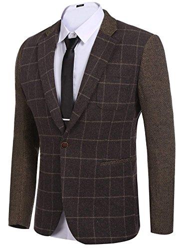 COOFANDY Men's Elegant Regular Fit One Button Plaid Tweed Dress Suit Blazer (Lined Tweed Coat)