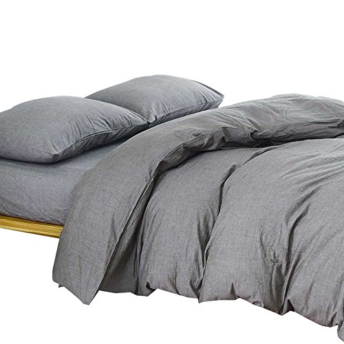 Mens Bed - MKXI Solid Elegant Comforter Cover, Home Bedroom Cotton Grey Man Duvet Cover Set