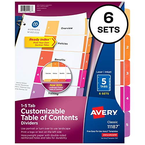 Avery Ready Index 5-Tab Binder Dividers - Customizable Table of Contents - Multicolor Tabs - 6 Sets (11187)