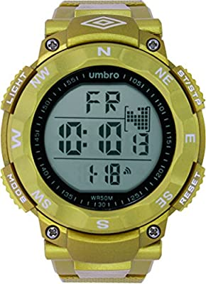 UMBRO UMB-01-5 Unisex ABS Gold Band, ABS Bezel 50mm Case Digital MIYOTA 2025 Electronic Precision Movement Water Resistant 5 ATM Sport Watch