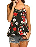 Yayado Adjustable Strap Tank Top Summer Sleeveless Blouses for Women Floral M