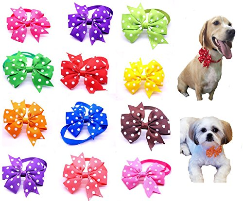 Tie Bow Accessory (yagopet 10pcs/Pack New Small Dog Bow Ties Polka Dots Cat Dog Bowties Collar Festival Dog Ties Dog Grooming Accessories)