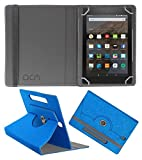 Acm Designer Rotating Leather Flip Case for Kindle All New Fire Hd 8 Cover Stand Dark Blue