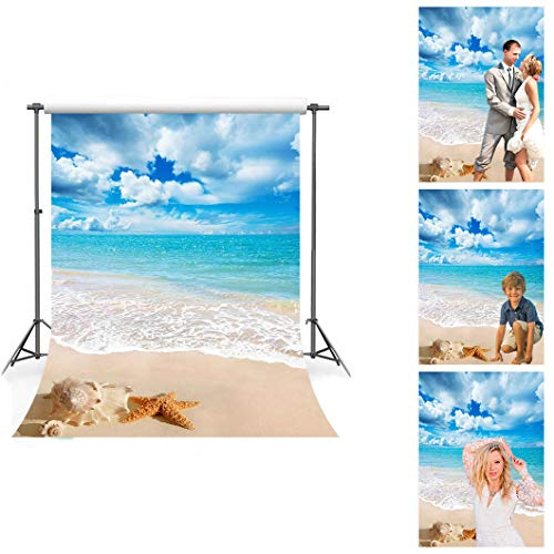 Beach Themed Photo Backdrops (Sea Beach Photography Backdrop Soft Fabric Sky White Clouds Starfish Backgrounds Summer Themed Vacation Photo Studio Props No Wrinkle)