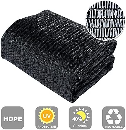 Agfabric 40 Sunblock Shade Cloth Cover with Clips for Plants 6 X 20 , Black