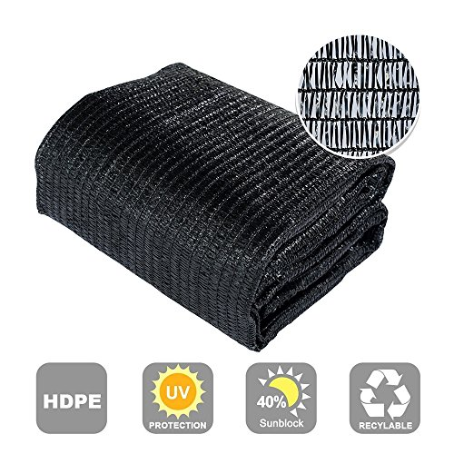 Agfabric SDR400812B 40 Sunblock Shade Cloth Cover with Clips for Plants 8 X 12 , Black
