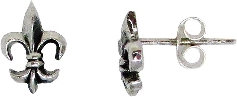 Cat Earrings Fleur de Lis Sterling Silver