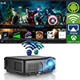 Wireless WiFi Projector, LCD LED Video Projectors 3200 Lumen 200'' High Definition Home Cinema Theater 1080p Full HD USB, Multimedia Projector for iPad Smartphone Laptop Blue Ray DVD Player PS4