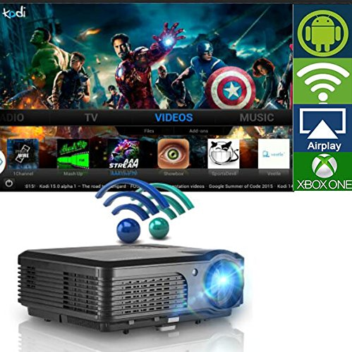 Wireless WiFi Projector, LCD LED Video Projectors 3200 Lumen 200