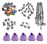 Luxbon 5 x Handmade European Styles Charm Bracelets Making Kit Murano Glass Bead Silver Plated Snake Chain Bracelet for Womens Girls Party Jewelry DIY Gift