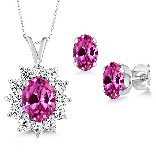 3.09 Ct Oval Pink Created Sapphire 925 Sterling Silver Pendant Earrings Set by Gem Stone King