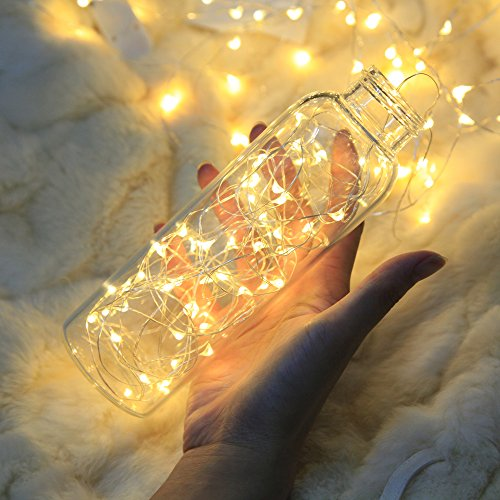 Lezoey Battery Fairy Lights 33Fft 100leds 8 Modes Waterproof Battery Powered Led Starry String Lights With Remote Control Indoor and Outdoor Xmas Party Home Decoration (Warm White) by Le Zoey (Image #2)