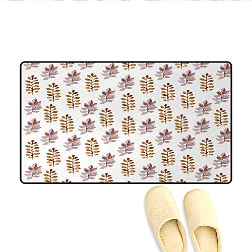 (Door Mats,Blossom Pattern in Watercolors Floral Spring Branch Ornament Leaves Art,Bath Mat Non Slip,Dried Rose Light Coffee,Size:20