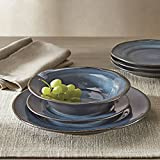 Better Homes and Gardens Bramley Crackle Glaze 12-Piece Dinnerware Set, Blue For Sale