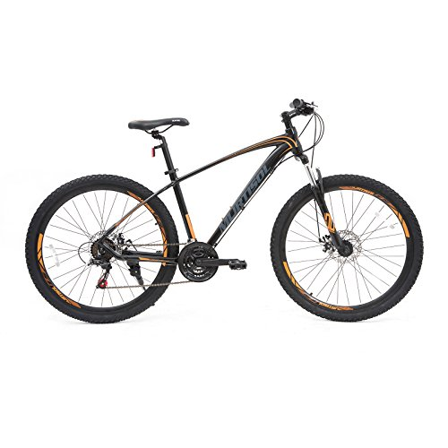 Murtisol Suspension Commuter Mountain Bike 27.5'' Hybrid Bicycles with Dual Disc Brake, 21 Speeds Derailleur, Lightweight Aluminum Frame Adjustable Seat,Red/Blue/Orange