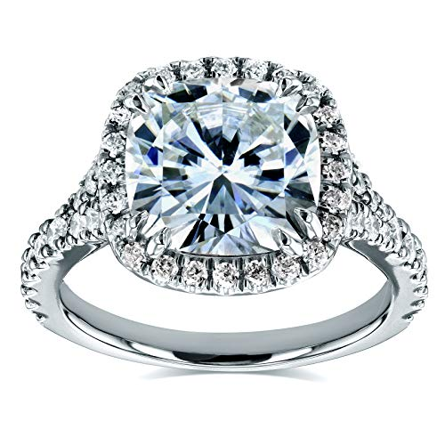 (Near-Colorless (F-G) Cushion Moissanite and Diamond Halo Cathedral Ring 3 1/3 CTW in 14k White Gold, Size 7)
