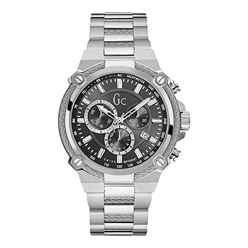 Guess Collection Mens Cable Force, Stainless Steel Silver Case and Band with Date Display and Chronograph, Swiss Watch, Y24003G2