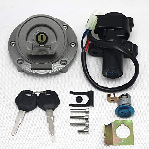 Worldmotop Key Ignition Switch Lock And Gas Cap Cover Ignition Lock Key Set for Yamaha YZF R1 R6 R6S FJR1300 FZ6 FZ6S FZ6N black