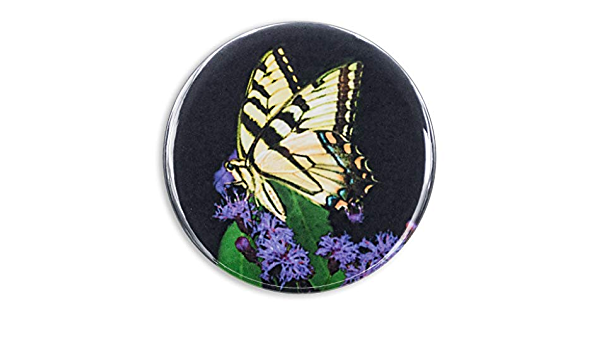 Tiger Swallowtail Butterfly Pocket Mirror Refrigerator Magnet or Pinback Button
