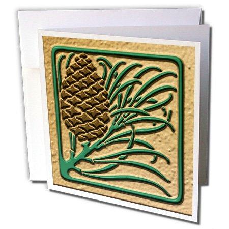 3dRose Russ Billington Christmas Designs - Photo of Art Nouveau Pine Cone Tile Design- Flat 2D Image not Embossed - 1 Greeting Card with Envelope (gc_222008_5)