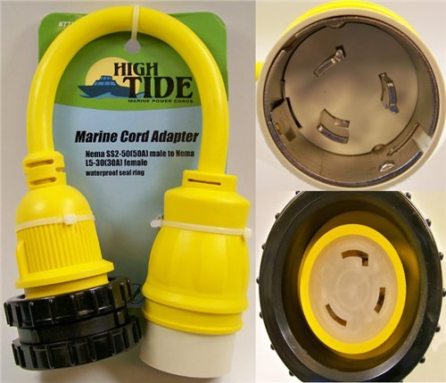 - 50 Amp Male to Locking 30A Female Marine adapter with LED Indicators (7731)