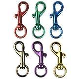 """6 Bright Colors Aluminum Spring Snap Hook Set 1-1/2"""""""