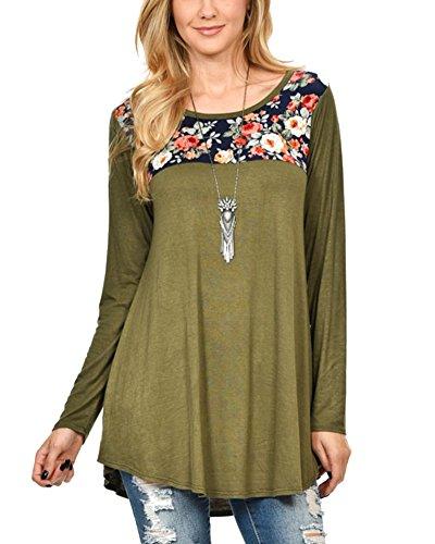 Femmes T-Shirt Robe Manche Longue Robe Tunique Chemisier Tops Ourlet Swing Arme Verte
