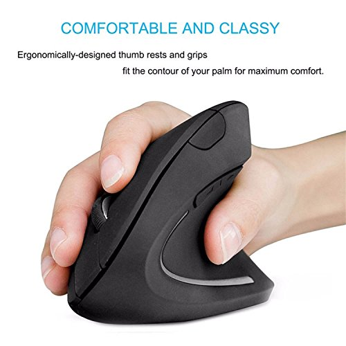 Unique 2.4GHz USB Wireless 1000DPI Vertical Grip Ergonomic Optical Mouse 11-W01-2180 with 6 Buttons Compatible with Mac OS X, Windows, Linux