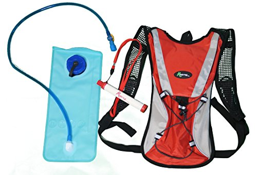 Hydration Pack with 2L Backpack Water Bladder with BONUS - Water Filtration Straw Survival Gear. Fits Men, Women, and Kids! Great for HIKING, RUNNING, BIKING, EXPLORING, ADVENTURING, KIDS