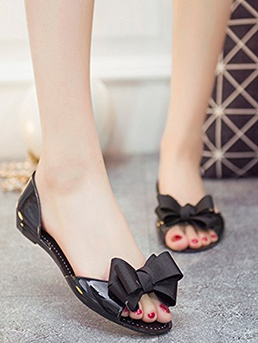 Mode Noir Bout Basse Ouvert Noeud Avec Sandales Aisun Femme 6AwZaqn5
