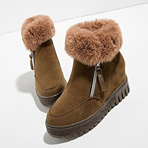 pelliccia tacco Khaki stivaletti piatto Round inverno abbigliamento Scarpe verde Toe HSXZ scarpe di sintetica Khaki Comfort casual donna nero Bootie stivaletti pu 6IqWzU