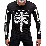 Men Skeleton T Shirt ARMS and Body Long Sleeve T-Shirt, DIKEWANG Men Skull Long-Sleeve Beefy Muscle Basic Solid Blouse Tee Shirt Top Halloween Costume Cosplay Sale