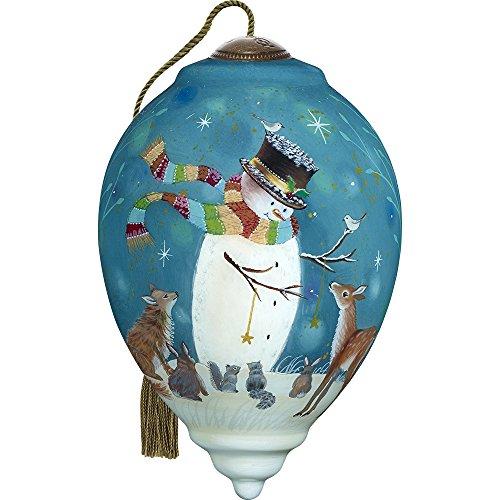 Precious Moments, Ne'Qwa Art 7171131 Hand Painted Blown Glass Standard Princess Shaped Snowman and Friends Ornament, - Snowman Painted Glass Ornaments Hand