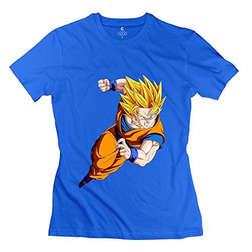 [AOPO Dragonball Z Super Saiyan God Goku Tee Shirts For Women Small RoyalBlue] (Cosplay Costume Making)