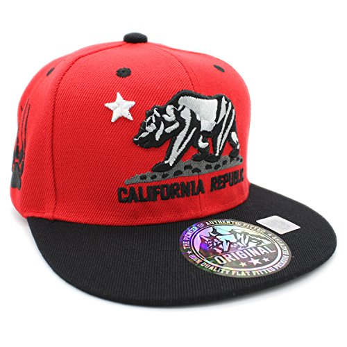 (LAFSQ Kid's Youth Embroidered California Republic Bear Claw Scratch Snapback Cap (RED/Grey/Black))