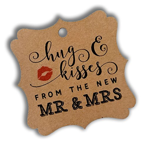 Square Favor Tags - Summer-Ray 100pcs Brown Kraft Elegant Square Hug & Kisses from the New Mr & Mrs Favor Tags Wedding Bridal Shower Anniversary