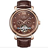 Samuel Joseph Limited Edition Automatic Designer Mens Watch - Skeleton Case, 20 Jewels And A Luxury Genuine Leather Strap - Brown Dial - Water Resistant