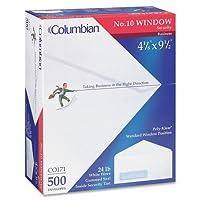 Sobres Blancos Teñidos de Seguridad de Ventana Izquierda Poly-Klear 4-17 /8x9-1 /2-pulg. Columbian CO171 (# 10), 500 unidades